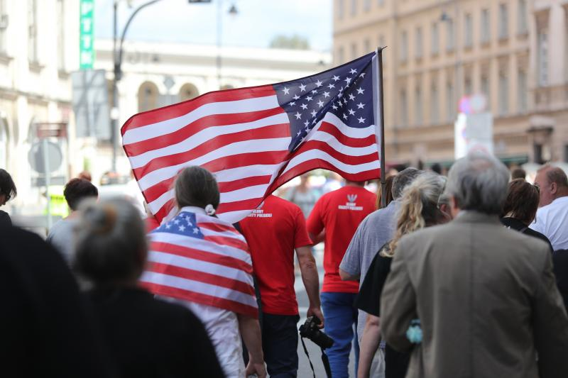 Donald Trump in Poland in Warsaw Polish People with US Flags